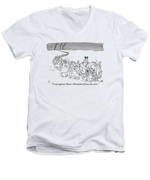 A Trail Of People And Disney Characters March Men's V-Neck T-Shirt