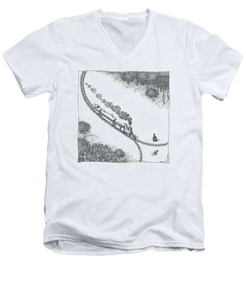 A Train Heads Toward A Tied Up Victim Traveling Men's V-Neck T-Shirt