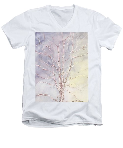 A Tree In Winter Men's V-Neck T-Shirt by Vickie G Buccini