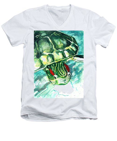 A Turtle Who Likes To Eat Fish Men's V-Neck T-Shirt