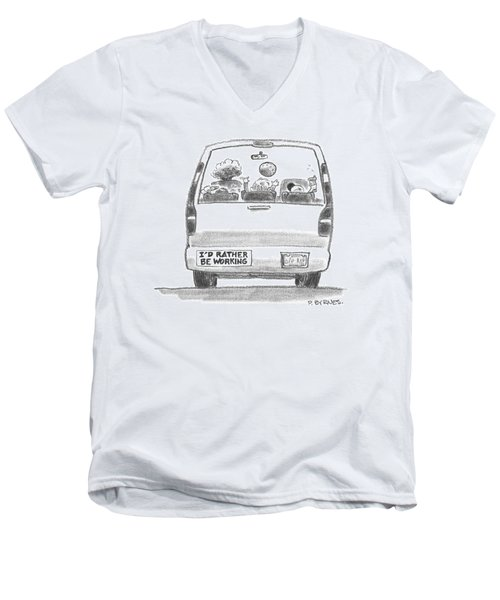 A Vehicle With Many Children Inside Is Seen Men's V-Neck T-Shirt