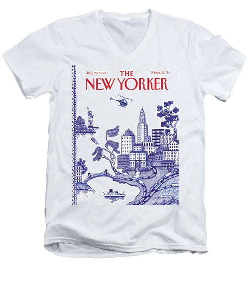 A View Of New York City Men's V-Neck T-Shirt