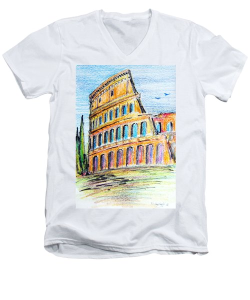 Men's V-Neck T-Shirt featuring the painting A View Of The Colosseo In Rome by Roberto Gagliardi