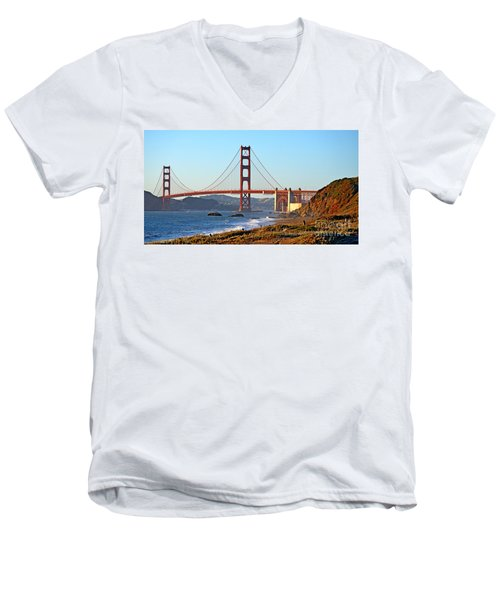 Men's V-Neck T-Shirt featuring the photograph A View Of The Golden Gate Bridge From Baker's Beach  by Jim Fitzpatrick