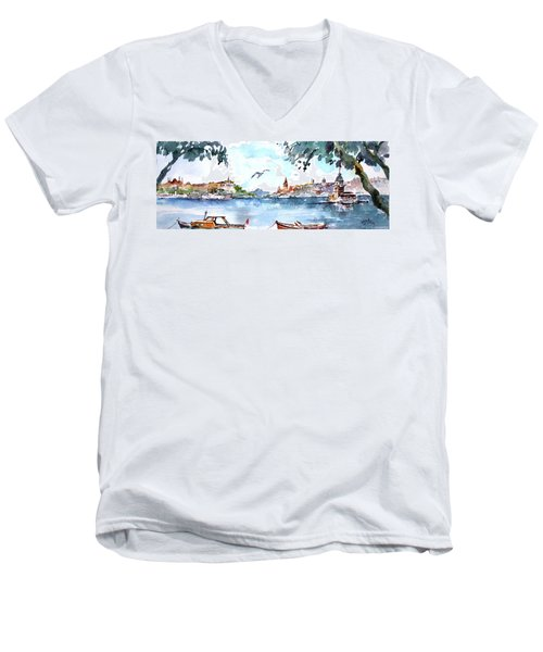 Men's V-Neck T-Shirt featuring the painting A View Of The Historical Peninsula From Uskudar - Istanbul by Faruk Koksal
