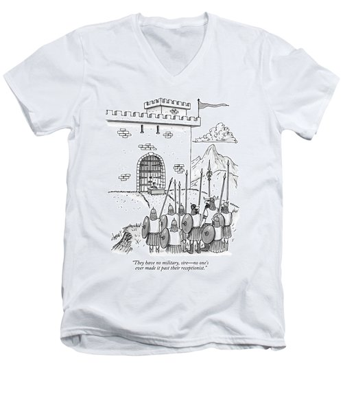 A Viking Army Stands Before A Castle Gate Where Men's V-Neck T-Shirt