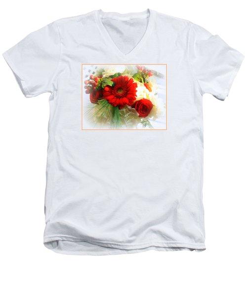 A Vision In Red Men's V-Neck T-Shirt by Dora Sofia Caputo Photographic Art and Design