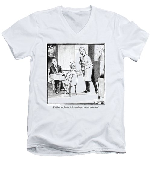 A Waiter Offers Pepper To Two Patrons. His Pepper Men's V-Neck T-Shirt