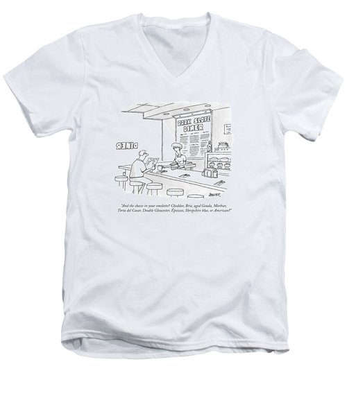 A Waitress Takes A Man's Order In A Diner Men's V-Neck T-Shirt