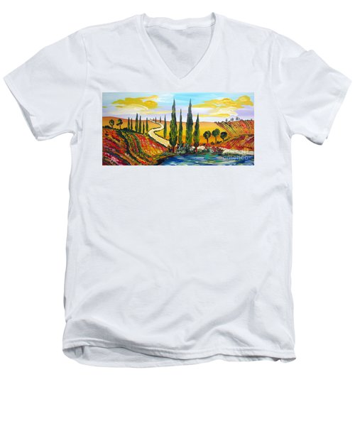 Men's V-Neck T-Shirt featuring the painting A Warm Day Under The Tuscan Sun by Roberto Gagliardi