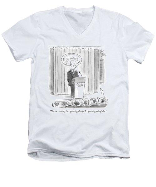 A White House Spokesman Addresses A Press Men's V-Neck T-Shirt