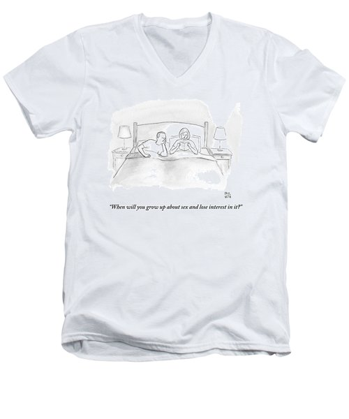 A Wife Speaks To Her Husband In Bed Men's V-Neck T-Shirt