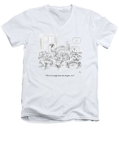 A Wife Surrounded By Beagles Addresses Men's V-Neck T-Shirt