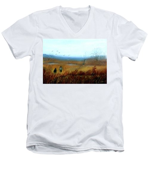 Men's V-Neck T-Shirt featuring the painting A Winter Walk by Gail Kirtz