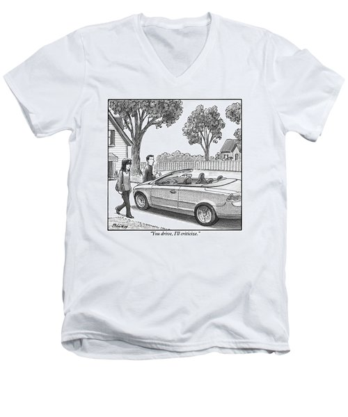 A Woman And Man Are Walking From Their House Men's V-Neck T-Shirt