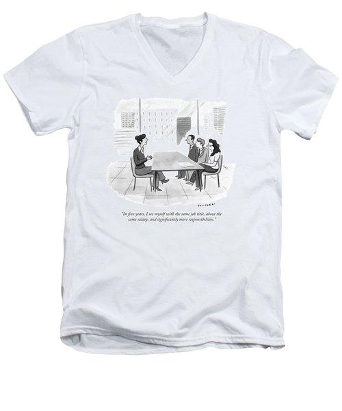 A Woman At A Job Interview Men's V-Neck T-Shirt