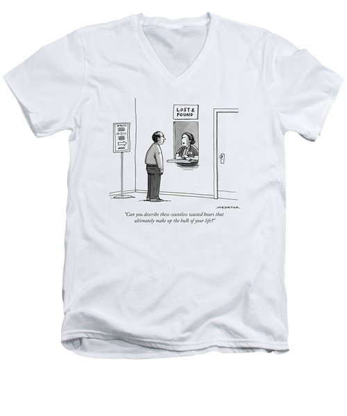 A Woman At The Lost And Found Window Speaks Men's V-Neck T-Shirt
