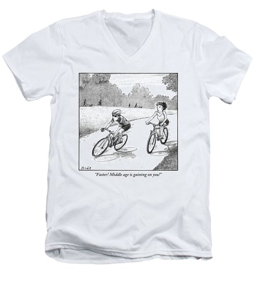 A Woman Casually Riding A Bicycle Addresses A Man Men's V-Neck T-Shirt