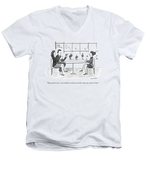 A Woman Interviews For A Job Men's V-Neck T-Shirt