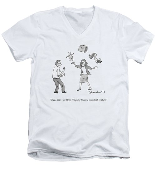 A Woman Juggles Two Children And A Briefcase Men's V-Neck T-Shirt