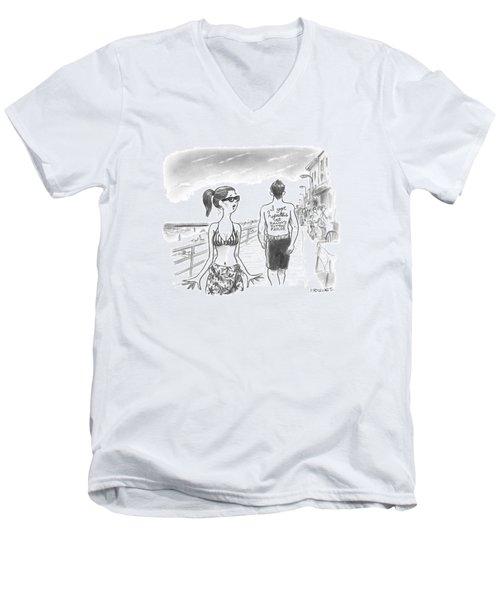 A Woman Passes A Man On The Boardwalk. Tattooed Men's V-Neck T-Shirt