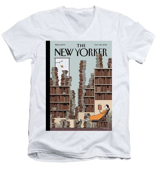 Fall Library Men's V-Neck T-Shirt
