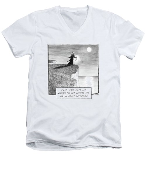 A Woman Runs In The Dark Toward A Cliff Men's V-Neck T-Shirt
