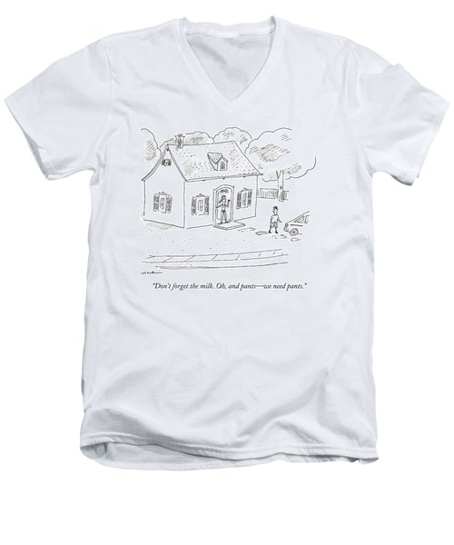 A Woman Speaks To Her Husband From The Doorway Men's V-Neck T-Shirt