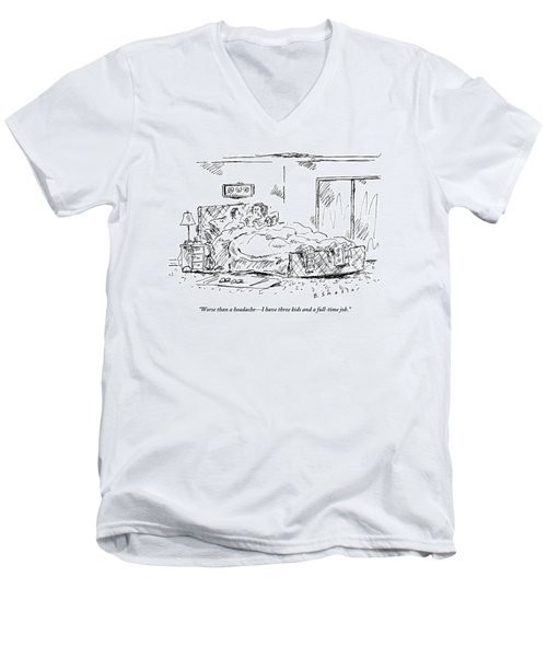 A Woman Speaks To Her Husband In Bed As She Reads Men's V-Neck T-Shirt