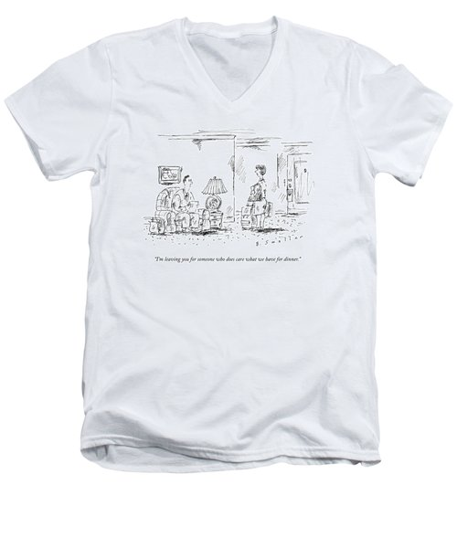 A Woman With Luggage Confronts Her Husband Men's V-Neck T-Shirt