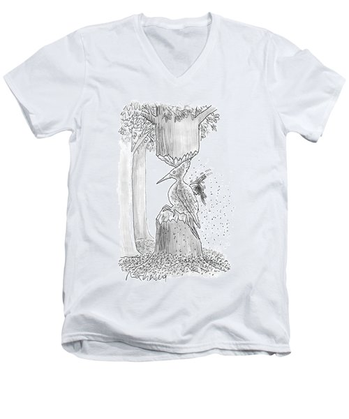 A Woodpecker Is Using His Beak To Carve Is Own Men's V-Neck T-Shirt