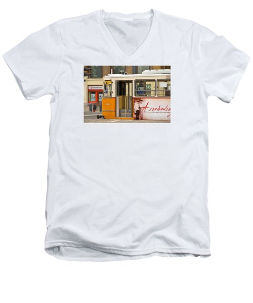 A Yellow Tram On The Streets Of Budapest Hungary Men's V-Neck T-Shirt by Imran Ahmed