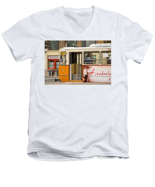A Yellow Tram On The Streets Of Budapest Hungary Men's V-Neck T-Shirt