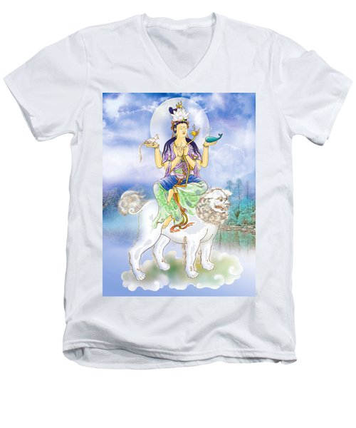 Abhetri Kuan Yin  Men's V-Neck T-Shirt by Lanjee Chee