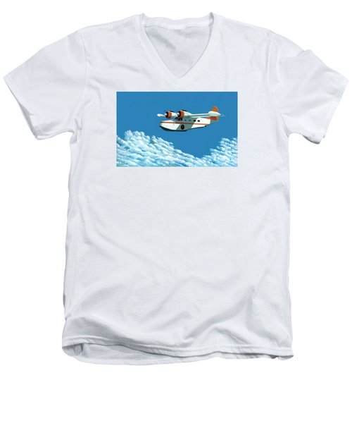Above It All  The Grumman Goose Men's V-Neck T-Shirt by Gary Giacomelli