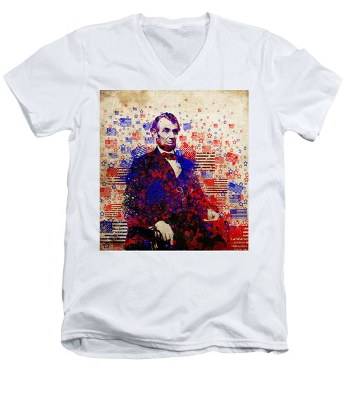 Abraham Lincoln With Flags Men's V-Neck T-Shirt by Bekim Art