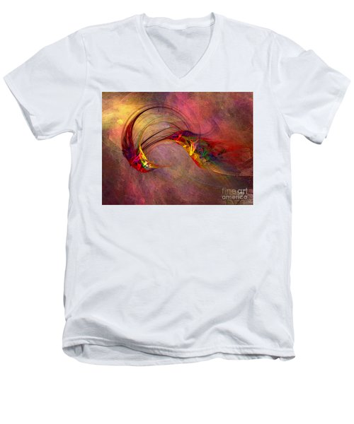 Abstract Art Print Hummingbird Men's V-Neck T-Shirt