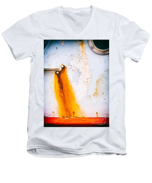 Men's V-Neck T-Shirt featuring the photograph Abstract Boat Detail by Silvia Ganora