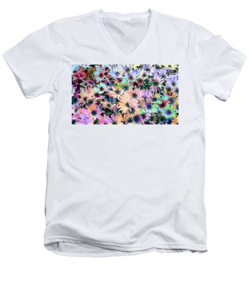 Abstract Colored Flowers Men's V-Neck T-Shirt by Susan Stone