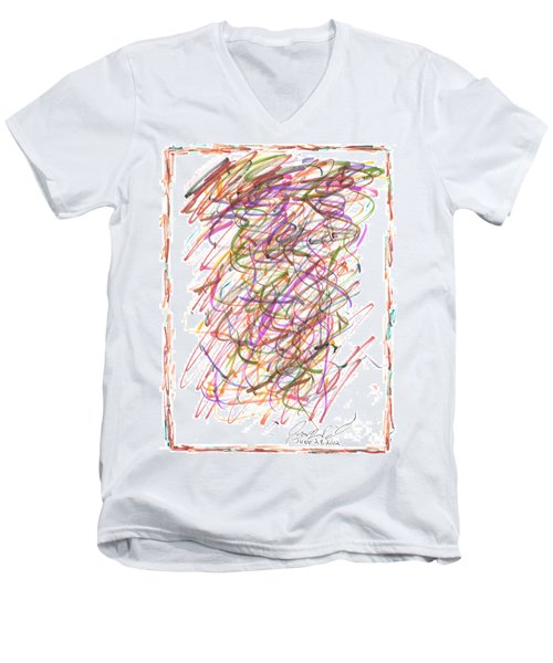 Men's V-Neck T-Shirt featuring the painting Abstract Confetti Celebration by Joseph Baril