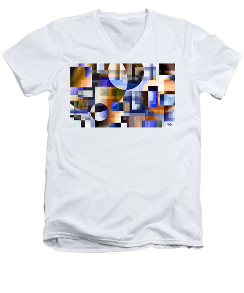 Men's V-Neck T-Shirt featuring the painting Abstract In Blue by Curtiss Shaffer