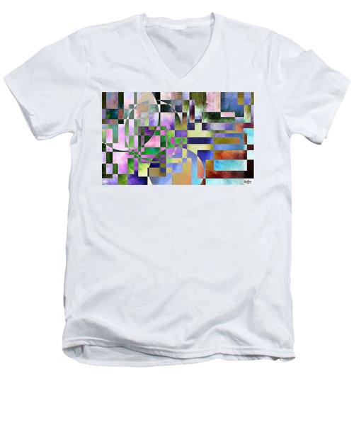 Men's V-Neck T-Shirt featuring the painting Abstract In Lavender by Curtiss Shaffer