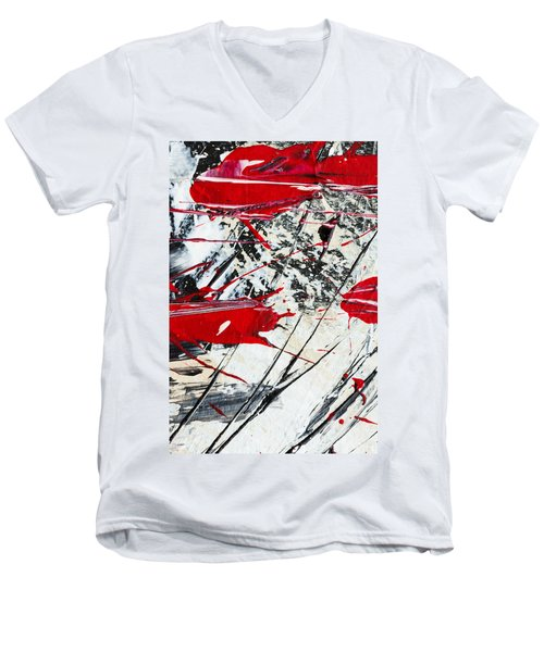 Abstract Original Painting Untitled Ten Men's V-Neck T-Shirt
