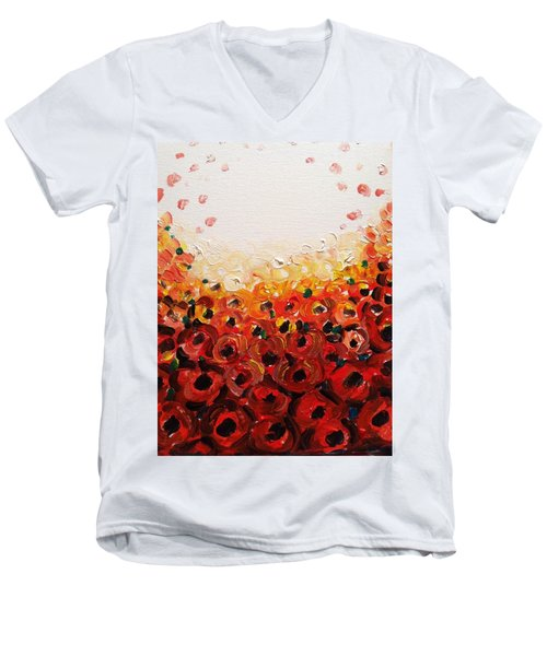 Abstract Poppies 2 Men's V-Neck T-Shirt