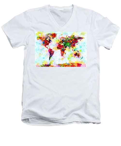 Abstract World Map Men's V-Neck T-Shirt