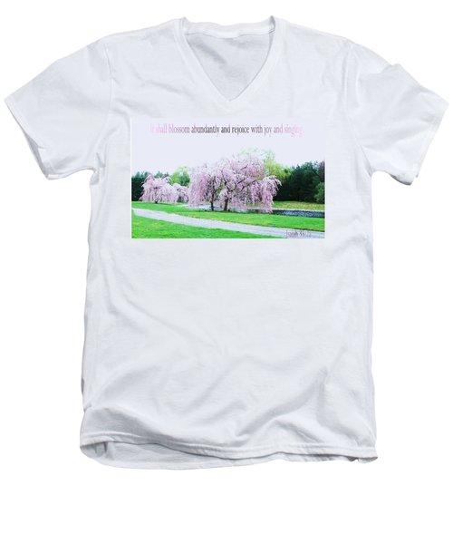 Men's V-Neck T-Shirt featuring the photograph Abundant Blossom by Pamela Hyde Wilson