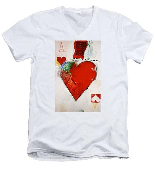 Ace Of Hearts 8-52 Men's V-Neck T-Shirt by Cliff Spohn