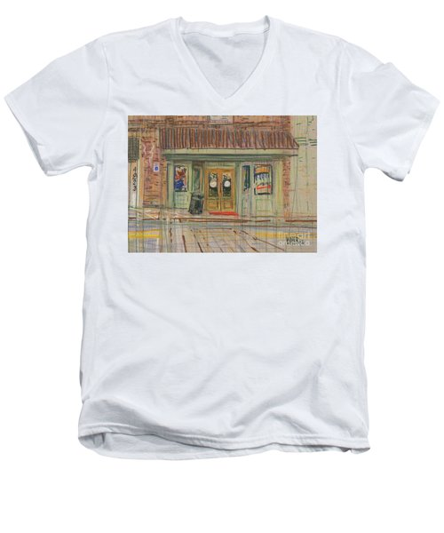 Men's V-Neck T-Shirt featuring the painting Acworth Shop by Donald Maier