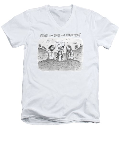 Adam And Eve And Courtney In The Garden Of Eden Men's V-Neck T-Shirt