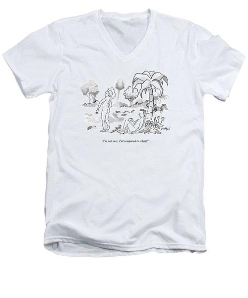 Adam And Eve In The Garden Of Eden Men's V-Neck T-Shirt